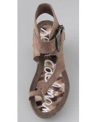 Sam Edelman - Gray Nikola Suede Wedge Sandals - Lyst