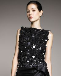 Vera Wang | Black Blizzard Sequined Top | Lyst