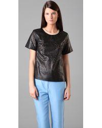 3.1 Phillip Lim | Black Laser Cut Leather T Shirt | Lyst