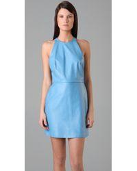 3.1 Phillip Lim - Blue Leather Halter Dress with Chiffon Back - Lyst