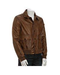 Belstaff - Natural Antique Honey Brown Leather Fokker Bomber Jacket for Men - Lyst