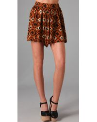Opening Ceremony   Brown Silk Culotte Shorts   Lyst