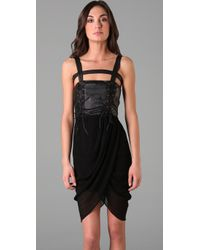 Opening Ceremony - Black Lace Up Draped Dress - Lyst