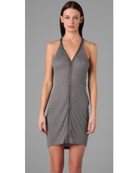 T By Alexander Wang - Gray Zip-front Ribbed Jersey Dress - Lyst
