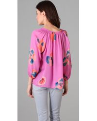 Tucker | Pink Smocked Collar Blouse | Lyst