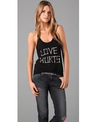 Wildfox | The Love Hurts Boyfriend Tank in Clean Black | Lyst