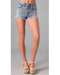 Wildfox | Blue Heather High Waist Shorts | Lyst