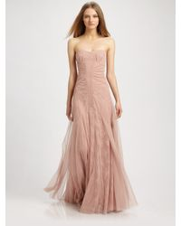 BCBGMAXAZRIA | Pink Strapless Ruched Center Gown | Lyst