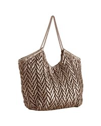 Elie Tahari | Pyrite Metallic Chevron Leather Beverly Tote | Lyst