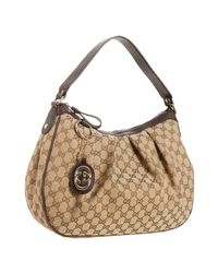 Gucci - Natural Cocoa Gg Canvas and Leather Sukey Hobo - Lyst