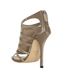 Gucci - Brown Taupe Satin Soraya Crystal Detailed Sandals - Lyst