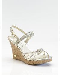 MICHAEL Michael Kors | Palm Beach Metallic Leather Sandals | Lyst