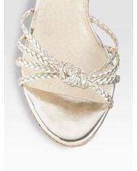 MICHAEL Michael Kors - Palm Beach Metallic Leather Sandals - Lyst