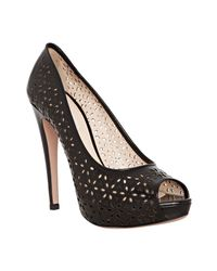 Prada | Black Floral Eyelet Leather Peep Toe Pumps | Lyst
