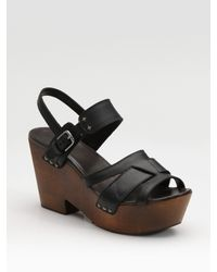 Rag & Bone | Black Royston Wedge Sandals | Lyst