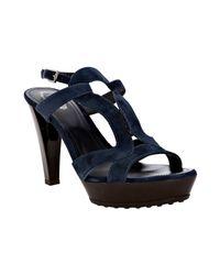Tod's - Blue Navy Suede Selleria Platform Sandals - Lyst
