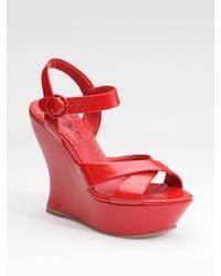Alice + Olivia | Red Juliet Patent Leather Platform Sandals | Lyst