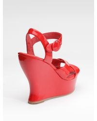 Alice + Olivia - Red Juliet Patent Leather Platform Sandals - Lyst