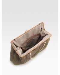 Nanette Lepore - Natural Knit Linen and Leather Framed Bag - Lyst