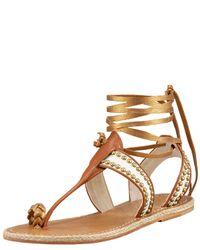 Christian Louboutin | Metallic Hola Chica Flat Sandal | Lyst