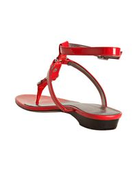 Calvin Klein | Red Robe Patent Leather Nova Thong Sandals | Lyst