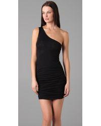 David Lerner - Black One Shoulder Ruched Dress - Lyst
