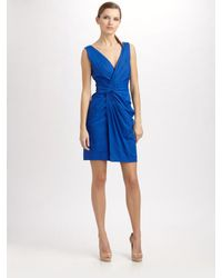 DKNY | Blue Weightless Stretch Sleeveless V-neck Dress | Lyst