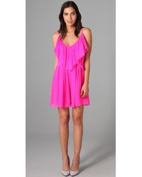 Halston | Pink Tiered Jumpsuit In Electric Fuchsia | Lyst