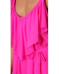 Halston - Pink Tiered Jumpsuit In Electric Fuchsia - Lyst