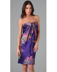 Halston | Purple Floral Cocktail Dress | Lyst
