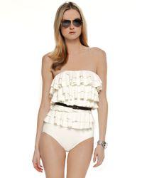 Michael Kors | Natural Cascading Ruffle Swimsuit | Lyst