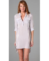 Shipley & Halmos - Natural Eagle Henley Shirtdress - Lyst