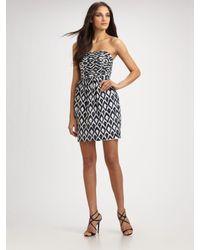 Shoshanna | Blue Ruched Strapless Mini Dress | Lyst