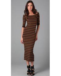 Torn By Ronny Kobo | Brown Eva Stripe Long Dress | Lyst