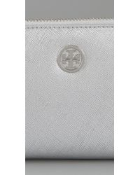 Tory Burch | Metallic Saffiano Zip Continental Wallet | Lyst