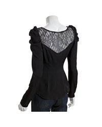 Ace Delivery - Black Silk Lace Inset Long Sleeve Blouse - Lyst