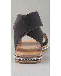 Belle By Sigerson Morrison | Black Elastic Crisscross Flat Sandals | Lyst