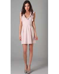 RED Valentino | Pink Ruffle Front Dress | Lyst