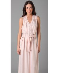 Thakoon | Pink Button Front Long Jumpsuit | Lyst