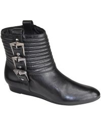 7 For All Mankind - Grace - Black Leather Buckle Boot - Lyst