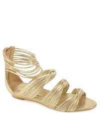 Loeffler Randall | Enid - Gold Metallic Low Wedge Sandal | Lyst