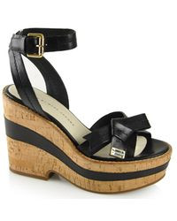 Marc By Marc Jacobs | - Black Leather Cork Wedge | Lyst