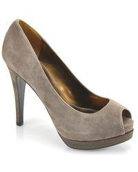 Pelle Moda | Gray Wrigley Suede Open Toe Pump | Lyst