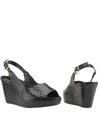Sheridan Mia | - Black Leather Woven Wedge Sandal | Lyst