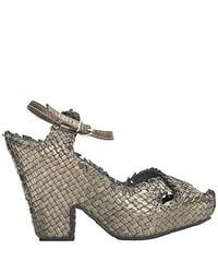 Sheridan Mia - Metallic - Pewter Leather Woven Frayed Sandal - Lyst