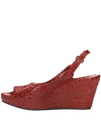Sheridan Mia - - Red Leather Woven Wedge Sandal - Lyst