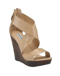 Steve Madden | Natural Riddgge Nude Patent Leather Wooden Wedge | Lyst