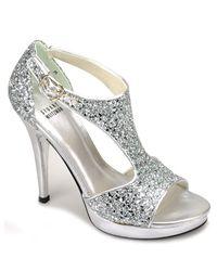 Stuart Weitzman | Metallic Loverly - Silver Glittered Sandal | Lyst