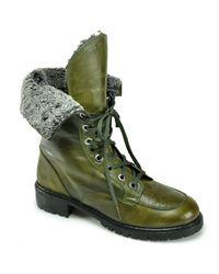 Stuart Weitzman | Green Workman - Olive Leather Combat Boot | Lyst