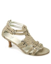 Stuart Weitzman | Green Loxley - Taupe Snake Sandal | Lyst